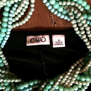 Cato Tops - 👯 Sassy Drape Neck Black Slinky Shirt Medium